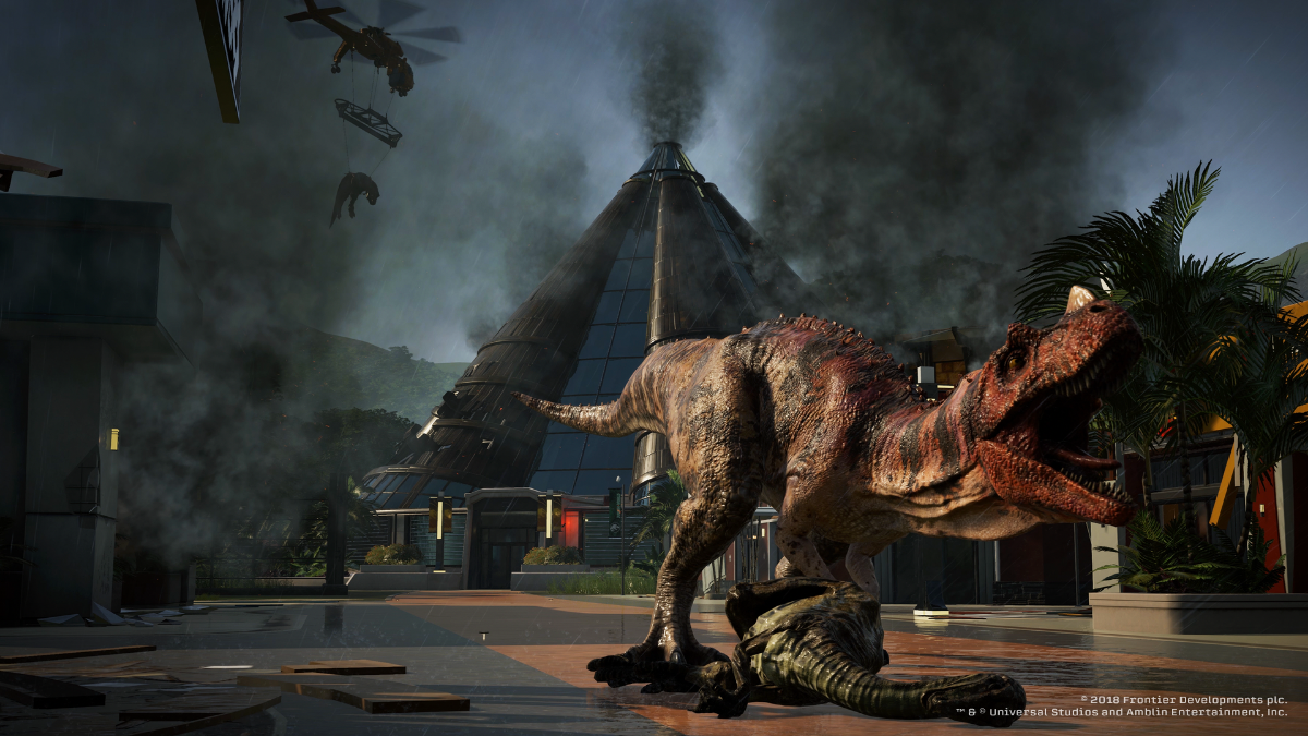 Jurassic World Evolution allows you to build your own world and bioengineer dinos (Image: Frontier Developments)