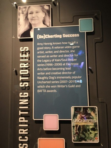 Amy Hennig's profile at the exhibit (Source: James Brightman)