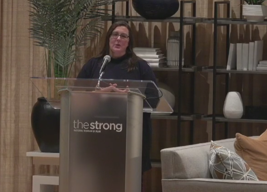 Victoria Van Voorhis speaking at The Strong's Women in Games event