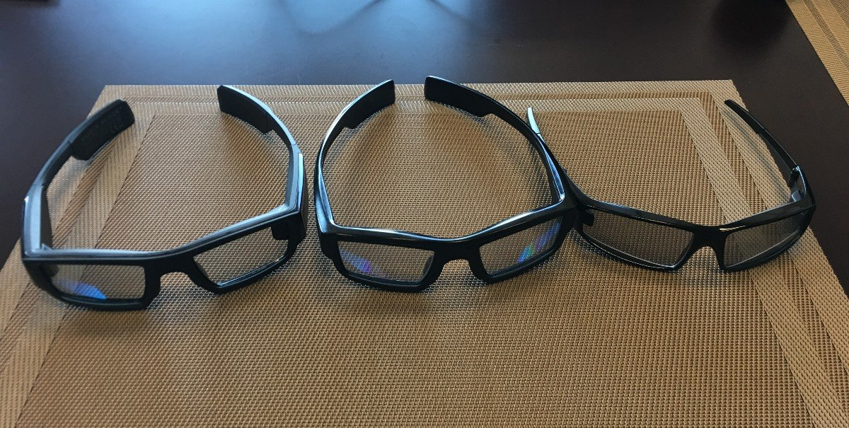 Progression from left to right -- the middle is available now and the right is where Vuzix believes it can get to soon (Photo: James Brightman)