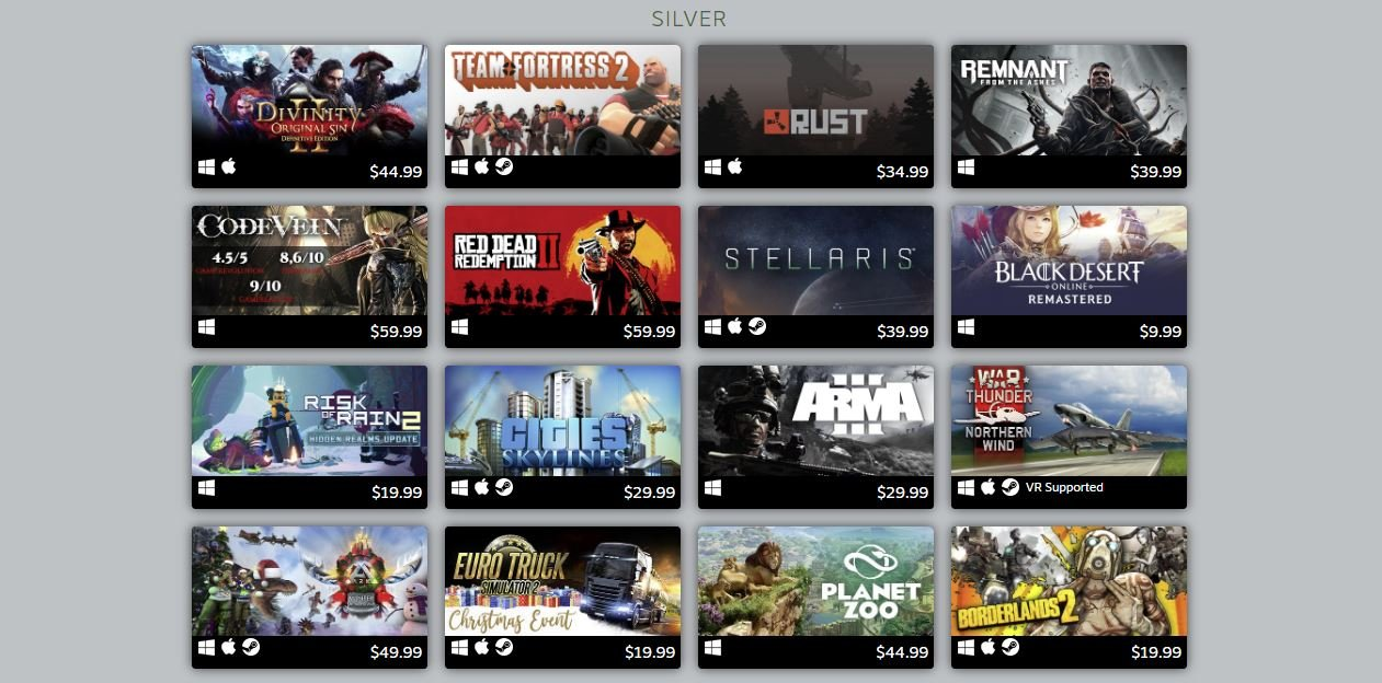 Steam's silver ranked games of 2019